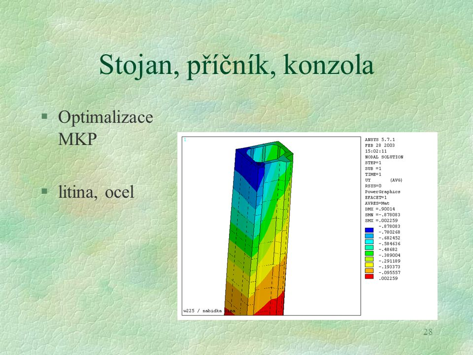 28 Stojan, příčník, konzola §Optimalizace MKP §litina, ocel