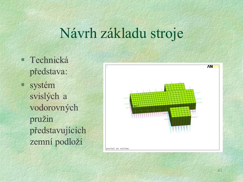 41 Návrh základu stroje §Technická představa: §systém svislých a vodorovných pružin představujících zemní podloží