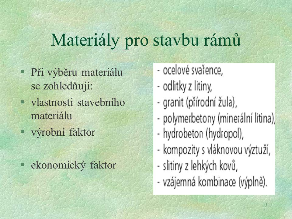 9 Materiály pro stavbu rámů §Při výběru materiálu se zohledňují: §vlastnosti stavebního materiálu §výrobní faktor §ekonomický faktor