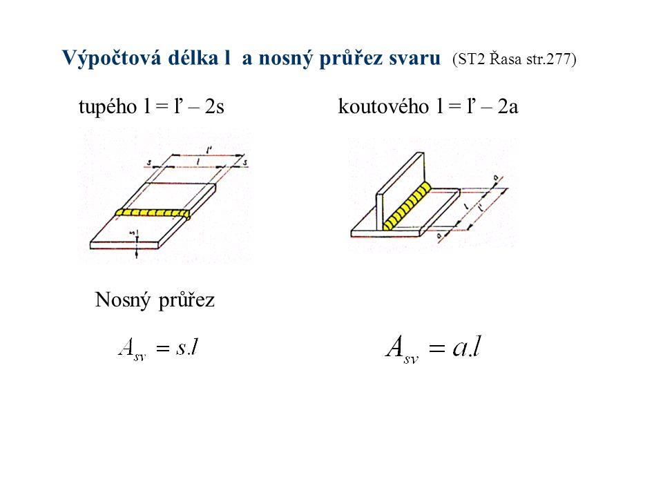 Výpočtová délka l a nosný průřez svaru (ST2 Řasa str.277) tupého l = ľ – 2skoutového l = ľ – 2a Nosný průřez