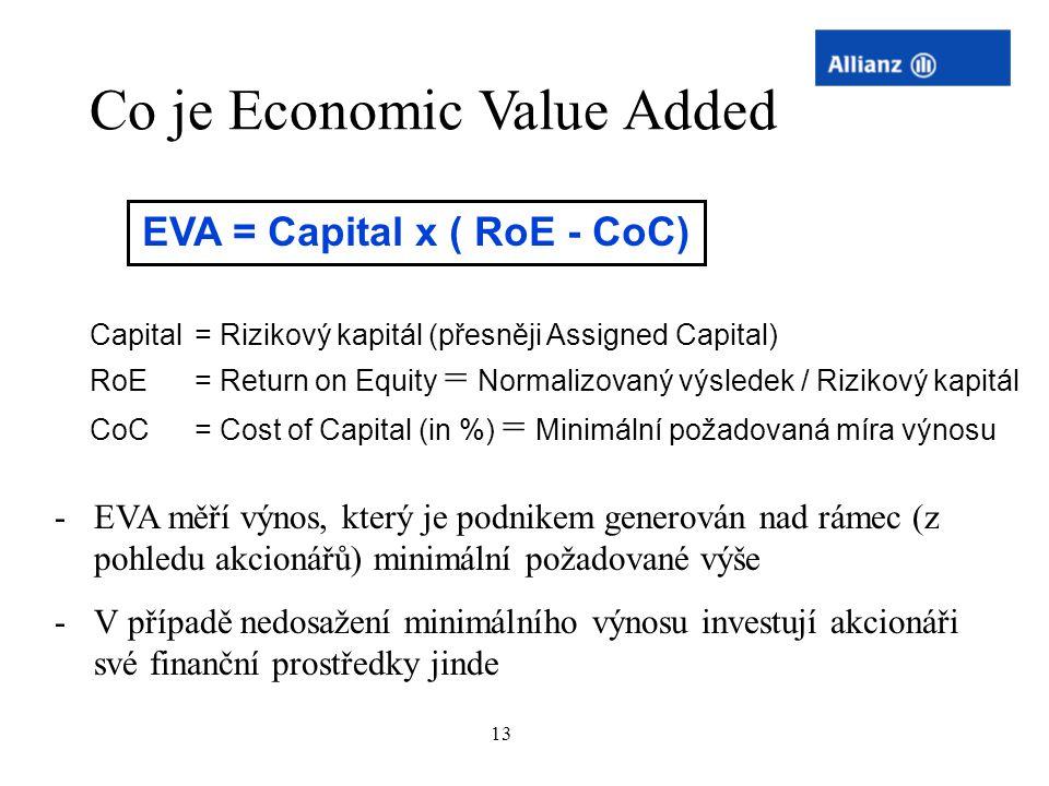 13 -EVA měří výnos, který je podnikem generován nad rámec (z pohledu akcionářů) minimální požadované výše -V případě nedosažení minimálního výnosu inv