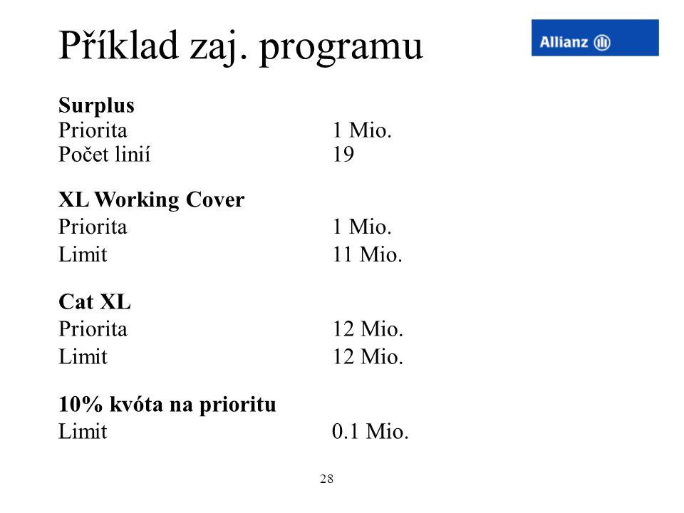 28 Příklad zaj. programu Surplus Priorita 1 Mio. Počet linií19 XL Working Cover Priorita 1 Mio. Limit11 Mio. Cat XL Priorita 12 Mio. Limit12 Mio. 10%