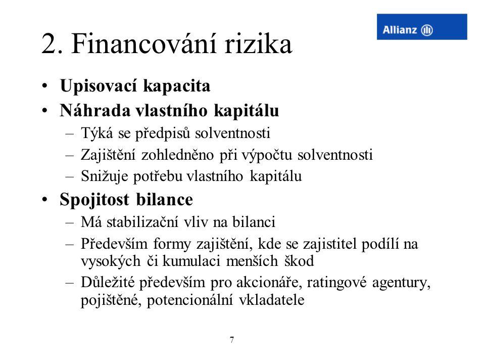 7 2. Financování rizika Upisovací kapacita Náhrada vlastního kapitálu –Týká se předpisů solventnosti –Zajištění zohledněno při výpočtu solventnosti –S