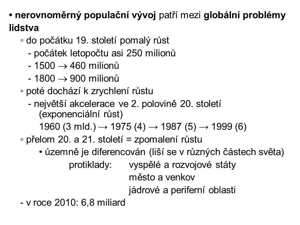 nerovnoměrný populační vývoj patří mezi globální problémy lidstva ◦ do počátku 19. století pomalý růst - počátek letopočtu asi 250 milionů - 1500  46