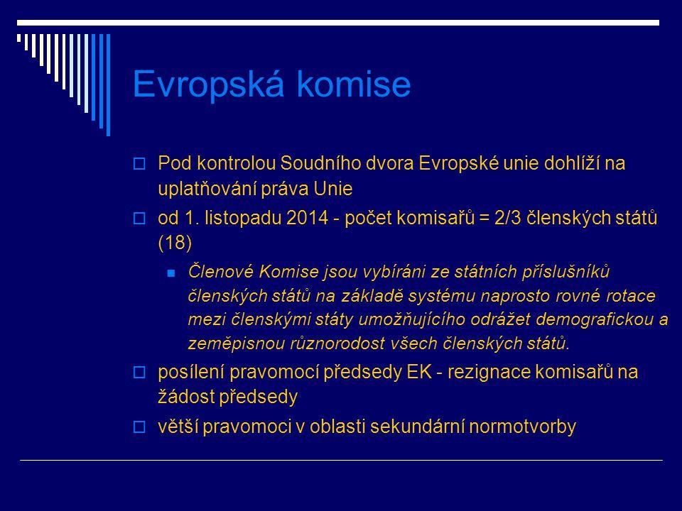 Evropská komise  Pod kontrolou Soudního dvora Evropské unie dohlíží na uplatňování práva Unie  od 1.