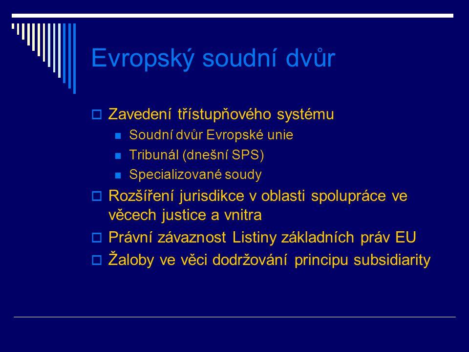 Evropský soudní dvůr  Zavedení třístupňového systému Soudní dvůr Evropské unie Tribunál (dnešní SPS) Specializované soudy  Rozšíření jurisdikce v oblasti spolupráce ve věcech justice a vnitra  Právní závaznost Listiny základních práv EU  Žaloby ve věci dodržování principu subsidiarity