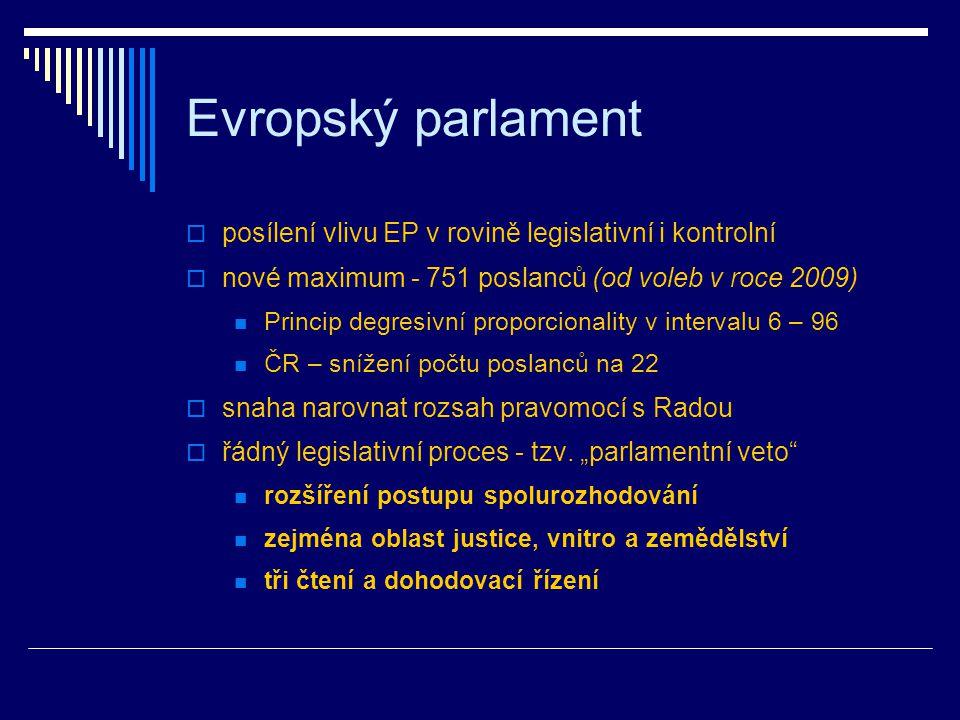 Evropský parlament  posílení vlivu EP v rovině legislativní i kontrolní  nové maximum - 751 poslanců (od voleb v roce 2009) Princip degresivní proporcionality v intervalu 6 – 96 ČR – snížení počtu poslanců na 22  snaha narovnat rozsah pravomocí s Radou  řádný legislativní proces - tzv.