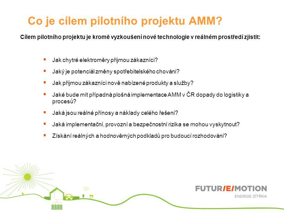 Co je cílem pilotního projektu AMM? Cílem pilotního projektu je kromě vyzkoušení nové technologie v reálném prostředí zjistit:  Jak chytré elektroměr