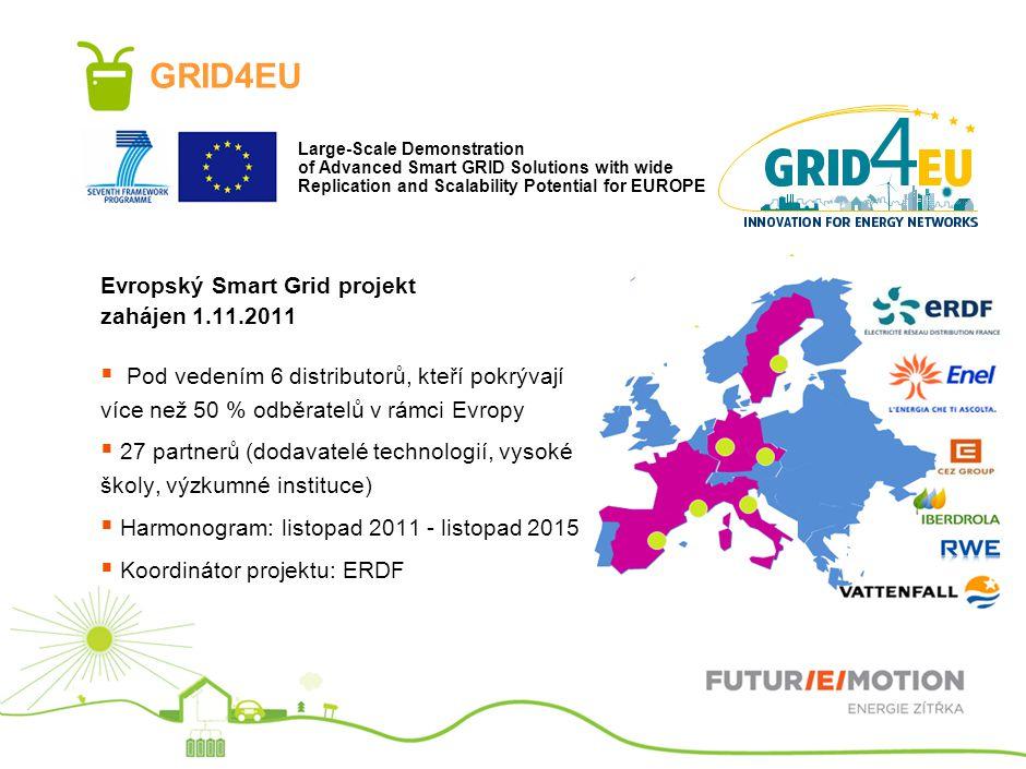 GRID4EU Evropský Smart Grid projekt zahájen 1.11.2011  Pod vedením 6 distributorů, kteří pokrývají více než 50 % odběratelů v rámci Evropy  27 partnerů (dodavatelé technologií, vysoké školy, výzkumné instituce)  Harmonogram: listopad 2011 - listopad 2015  Koordinátor projektu: ERDF Large-Scale Demonstration of Advanced Smart GRID Solutions with wide Replication and Scalability Potential for EUROPE