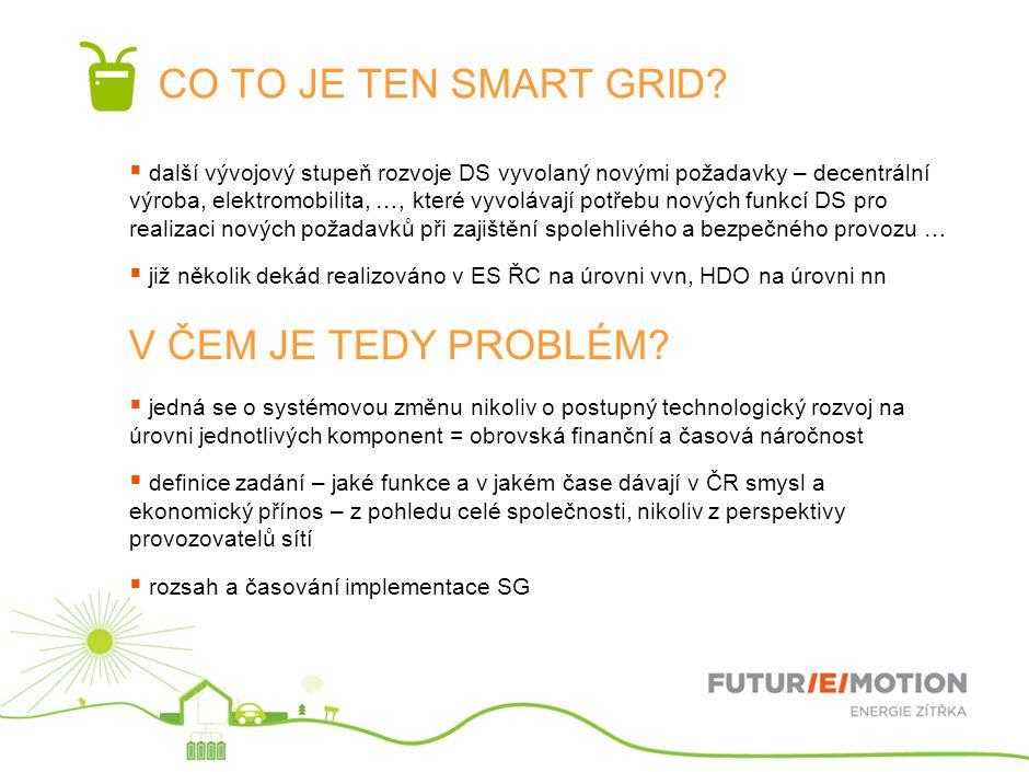 CO TO JE TEN SMART GRID?  další vývojový stupeň rozvoje DS vyvolaný novými požadavky – decentrální výroba, elektromobilita, …, které vyvolávají potře