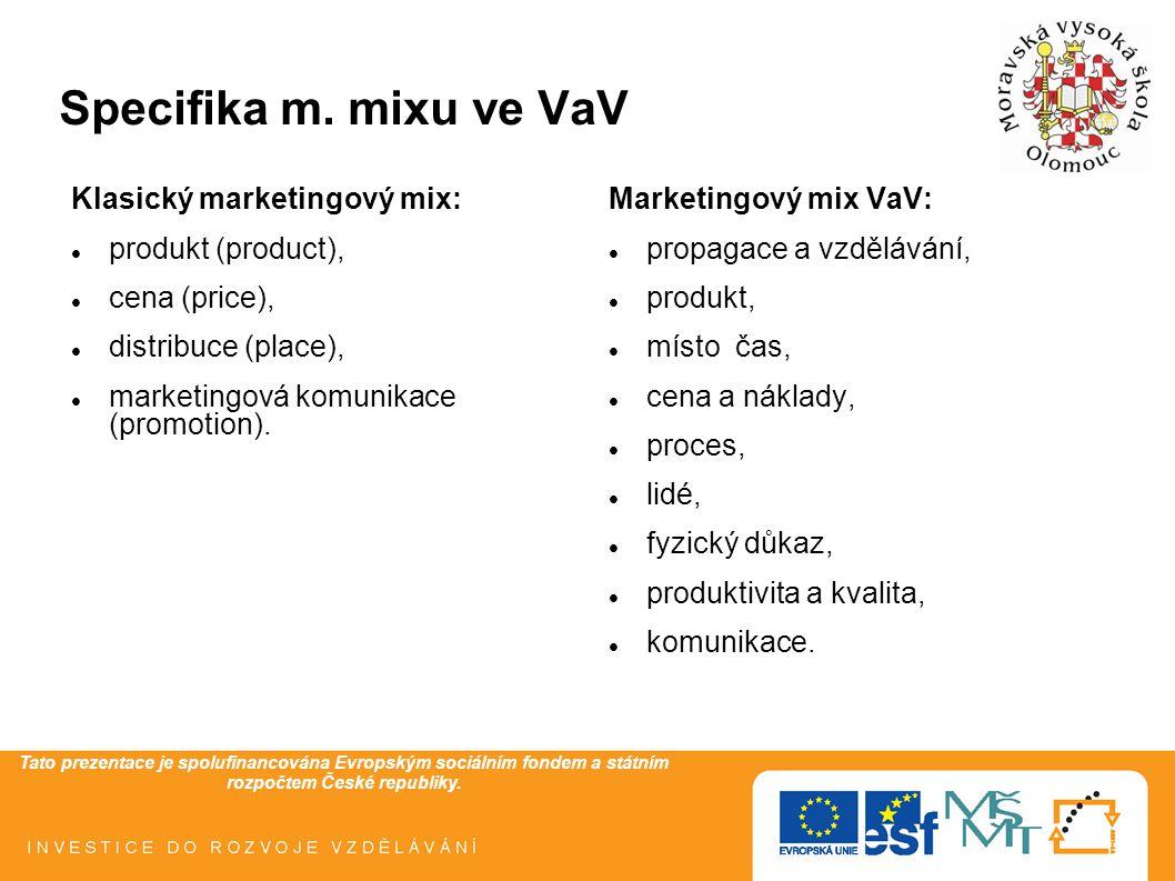 Tato prezentace je spolufinancována Evropským sociálním fondem a státním rozpočtem České republiky. Specifika m. mixu ve VaV Klasický marketingový mix