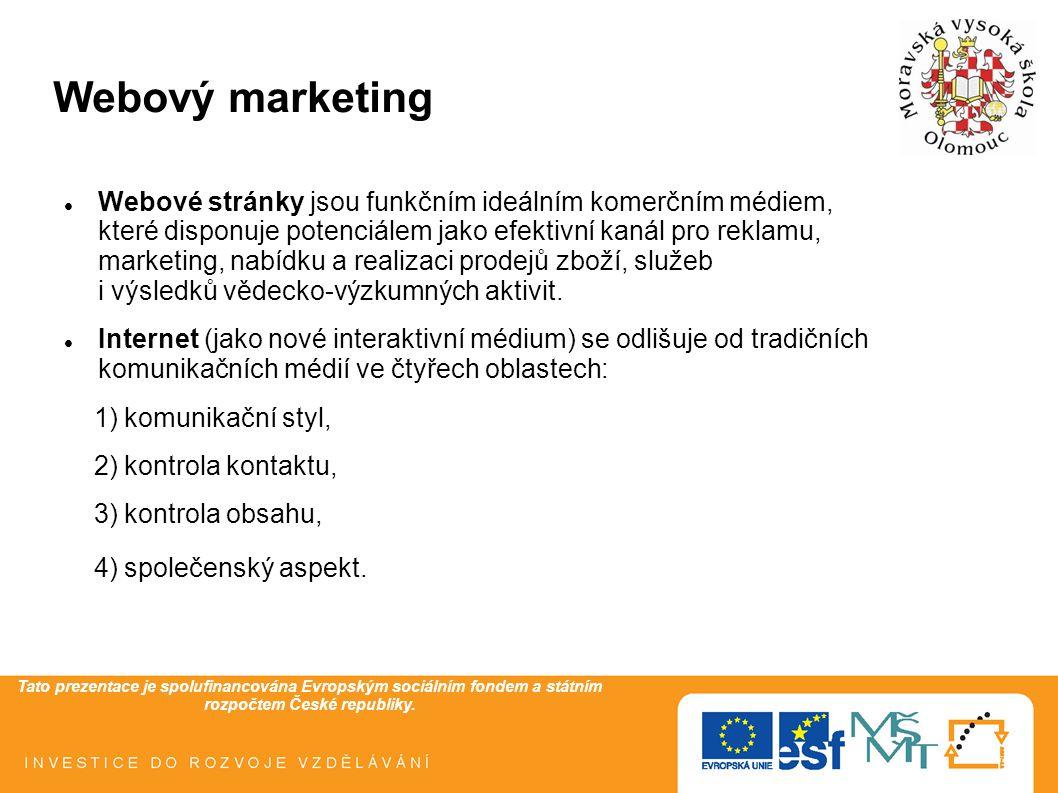 Tato prezentace je spolufinancována Evropským sociálním fondem a státním rozpočtem České republiky. Webový marketing Webové stránky jsou funkčním ideá