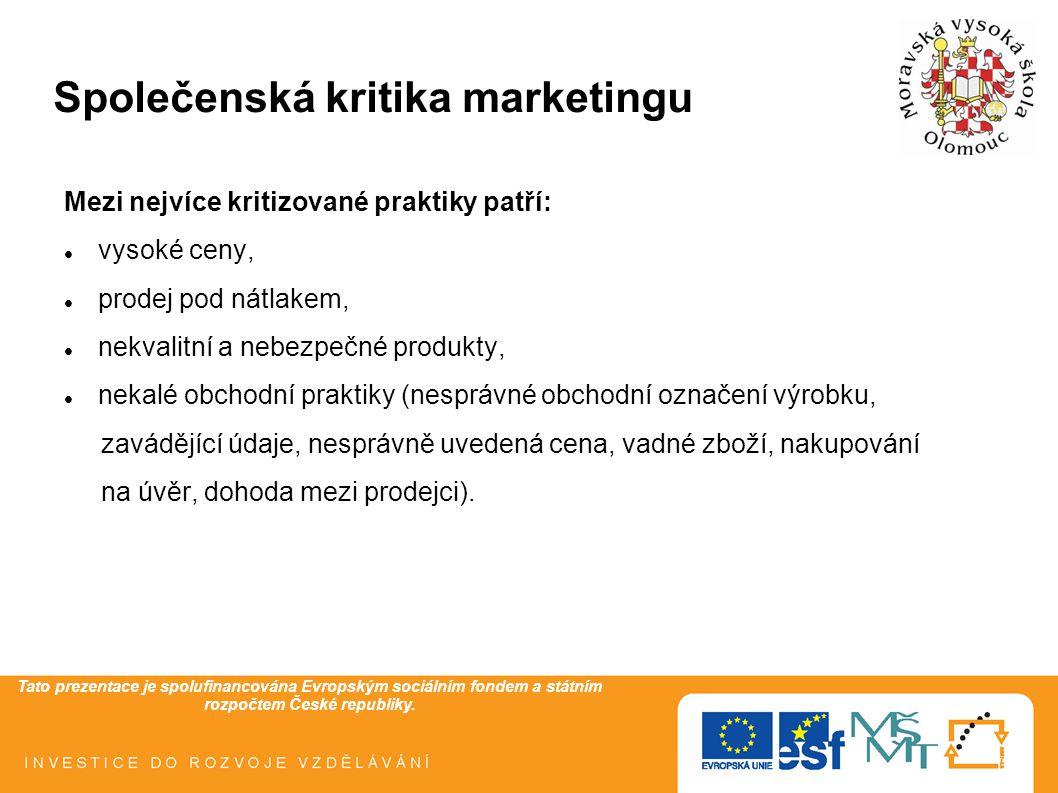 Tato prezentace je spolufinancována Evropským sociálním fondem a státním rozpočtem České republiky. Společenská kritika marketingu Mezi nejvíce kritiz