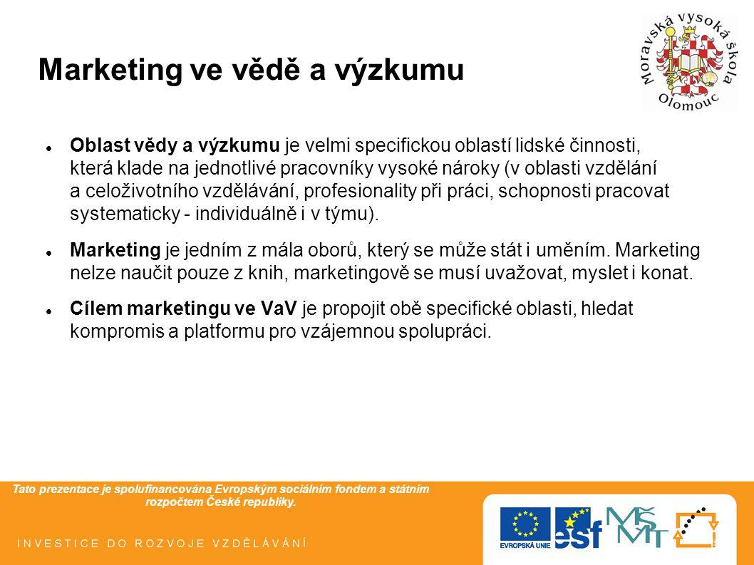 Tato prezentace je spolufinancována Evropským sociálním fondem a státním rozpočtem České republiky. Marketing ve vědě a výzkumu Oblast vědy a výzkumu