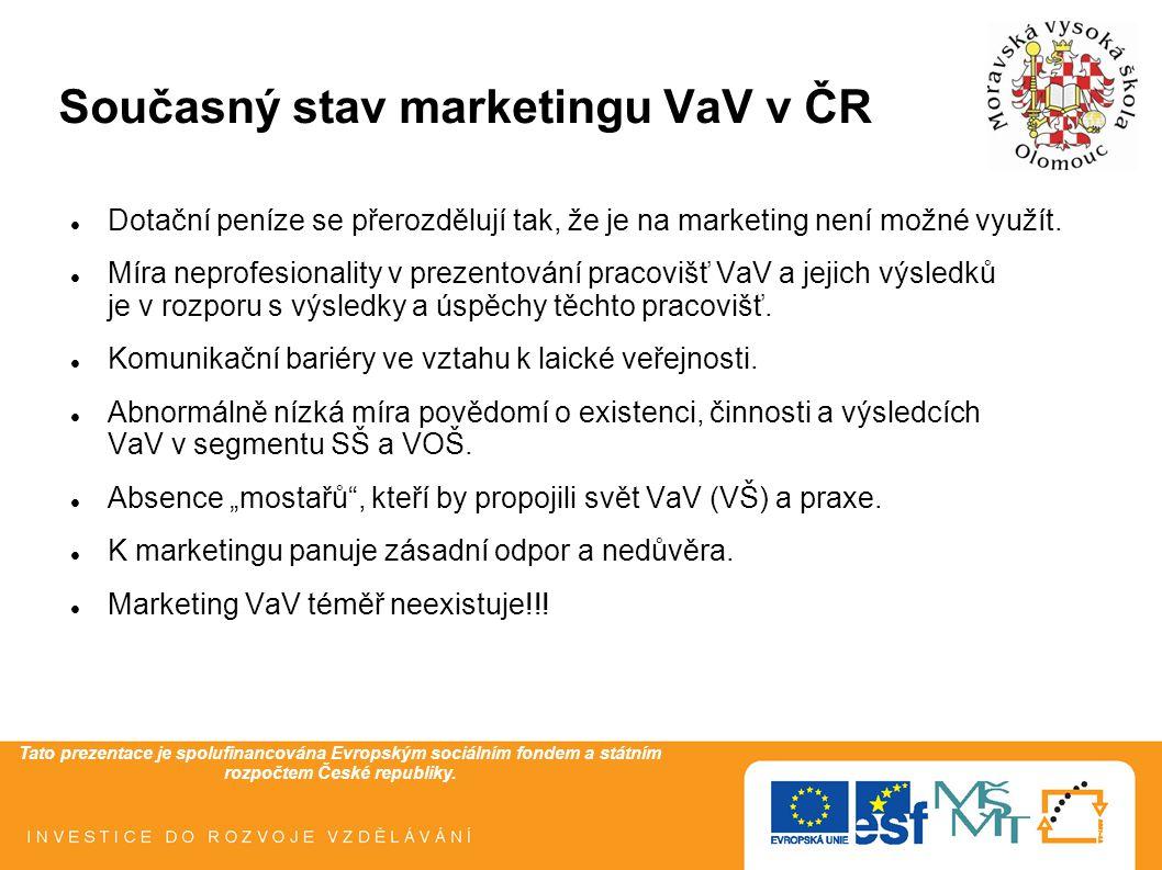 Tato prezentace je spolufinancována Evropským sociálním fondem a státním rozpočtem České republiky. Současný stav marketingu VaV v ČR Dotační peníze s