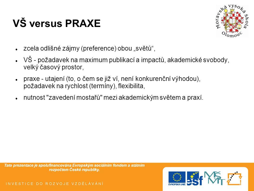 Tato prezentace je spolufinancována Evropským sociálním fondem a státním rozpočtem České republiky. VŠ versus PRAXE zcela odlišné zájmy (preference) o