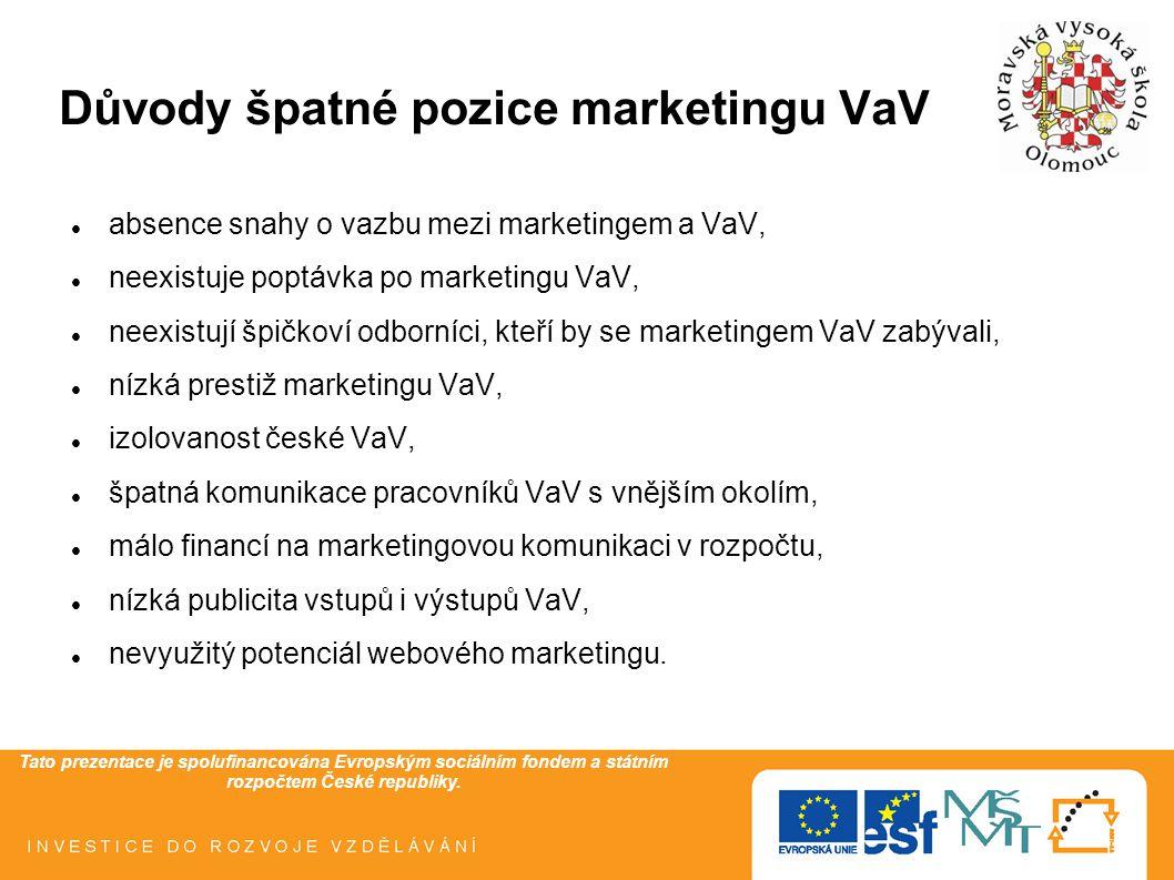 Tato prezentace je spolufinancována Evropským sociálním fondem a státním rozpočtem České republiky. Důvody špatné pozice marketingu VaV absence snahy