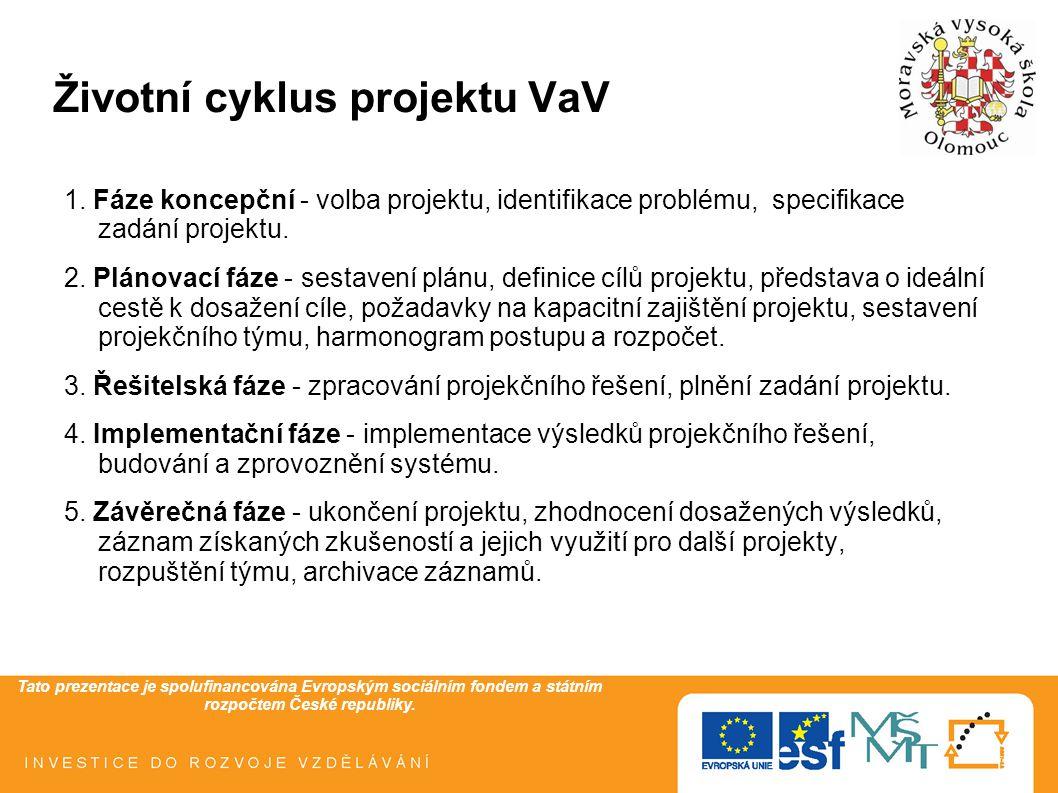 Tato prezentace je spolufinancována Evropským sociálním fondem a státním rozpočtem České republiky. Životní cyklus projektu VaV 1. Fáze koncepční - vo