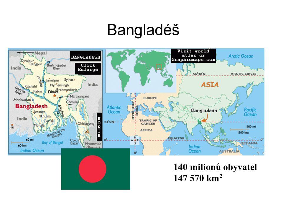 Bangladéš 140 milionů obyvatel 147 570 km 2