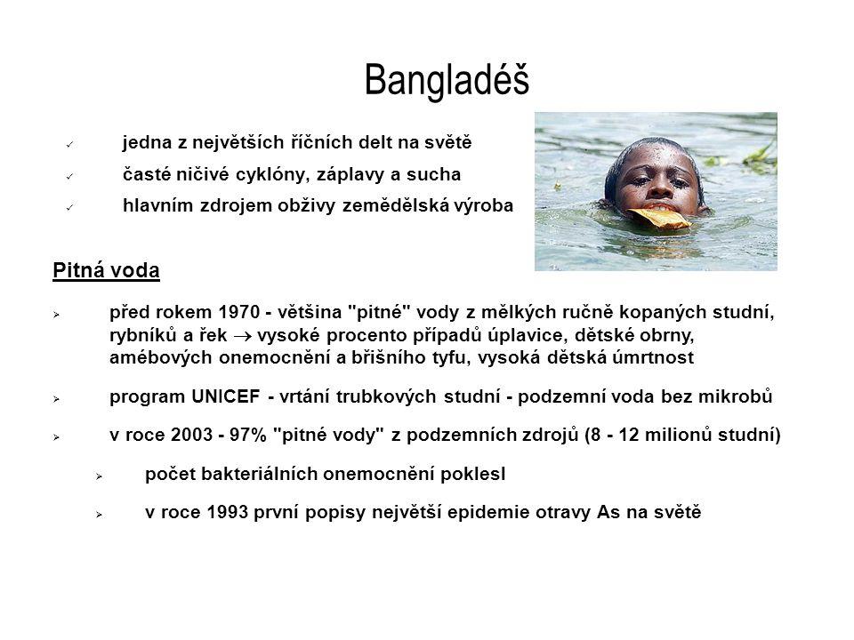 Bangladéš jedna z největších říčních delt na světě časté ničivé cyklóny, záplavy a sucha hlavním zdrojem obživy zemědělská výroba Pitná voda  před rokem 1970 - většina pitné vody z mělkých ručně kopaných studní, rybníků a řek  vysoké procento případů úplavice, dětské obrny, amébových onemocnění a břišního tyfu, vysoká dětská úmrtnost  program UNICEF - vrtání trubkových studní - podzemní voda bez mikrobů  v roce 2003 - 97% pitné vody z podzemních zdrojů (8 - 12 milionů studní)  počet bakteriálních onemocnění poklesl  v roce 1993 první popisy největší epidemie otravy As na světě
