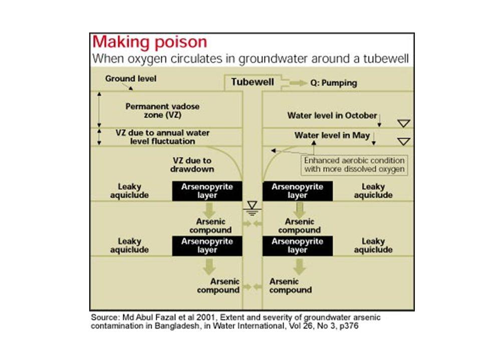 Bangladéš Zdroje arsenu Teorie 1 - důsledek lidské činnosti  oxidace arsenopyritu (FeAsS) ve zvodnělé vrstvě  pumpováním se sníží hladina vody na úr
