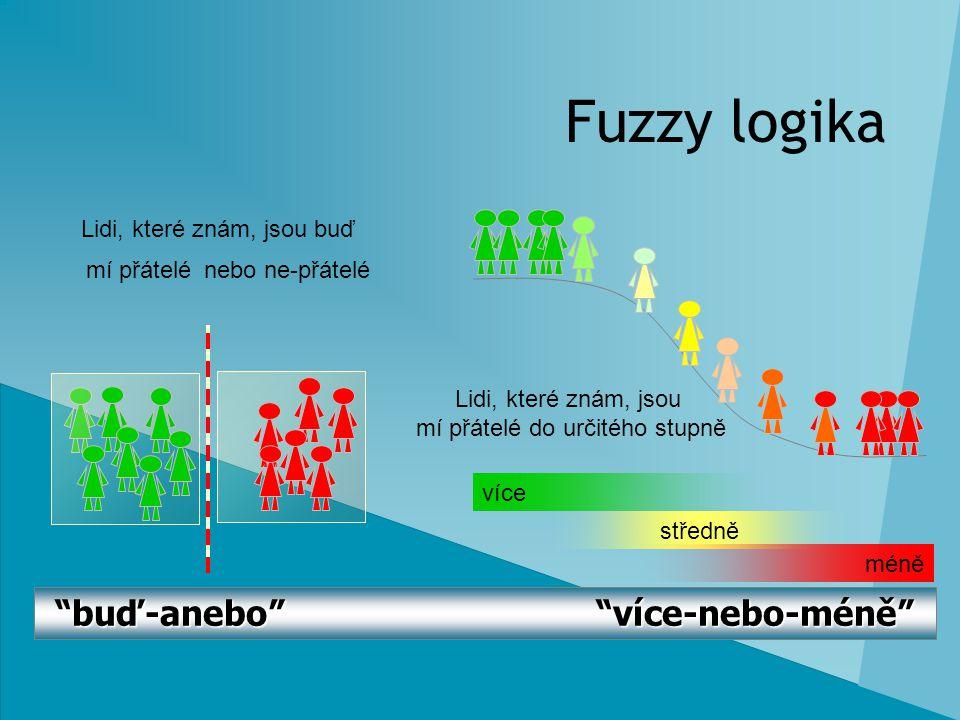 """Fuzzy logika """"buď-anebo"""" """"více-nebo-méně"""" více středně méně Lidi, které znám, jsou buď Lidi, které znám, jsou mí přátelé do určitého stupně mí přátelé"""
