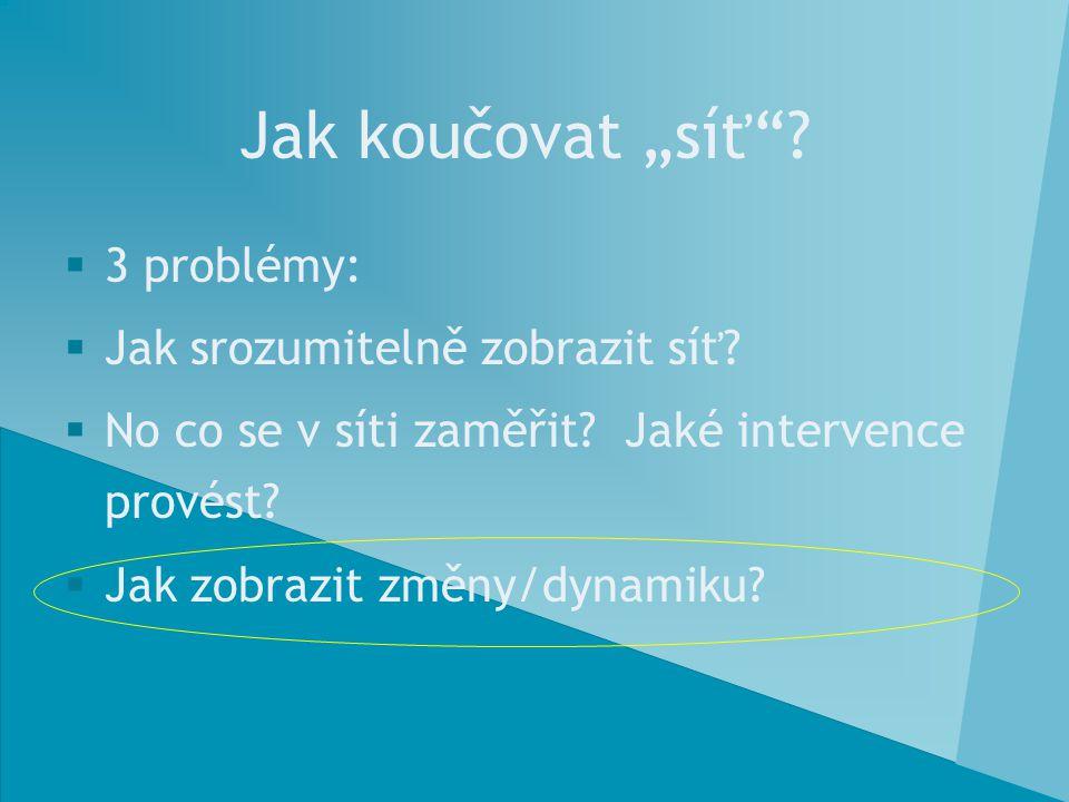 """Jak koučovat """"síť""""?  3 problémy:  Jak srozumitelně zobrazit síť?  No co se v síti zaměřit? Jaké intervence provést?  Jak zobrazit změny/dynamiku?"""