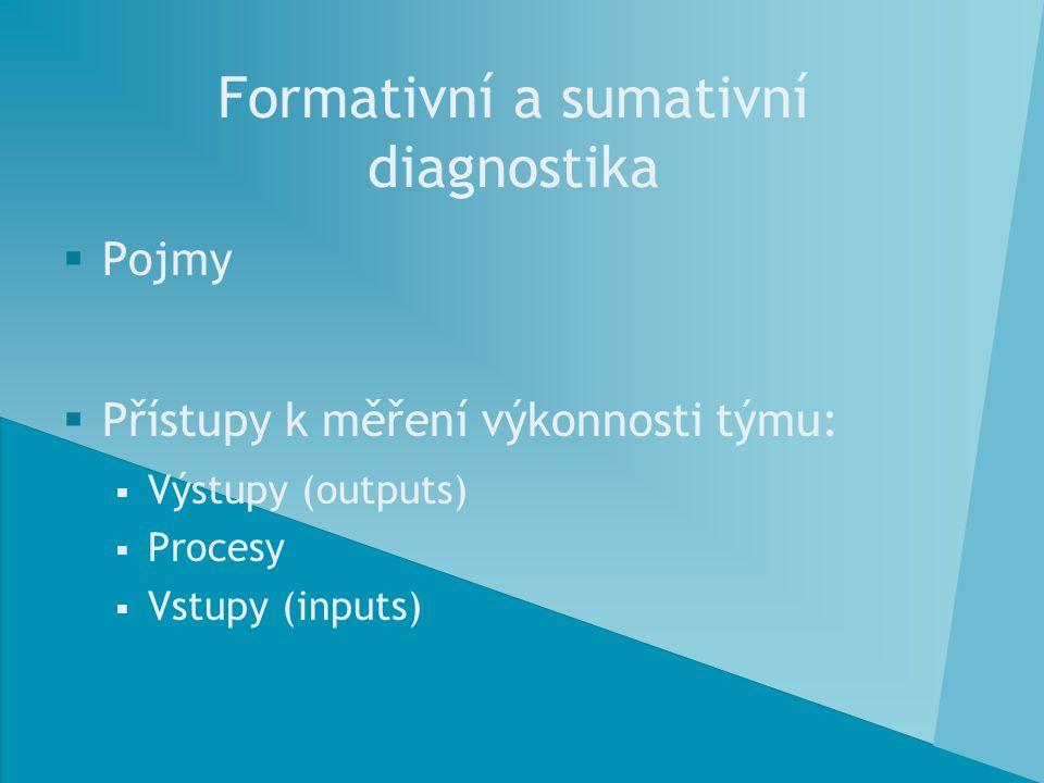 Formativní a sumativní diagnostika  Pojmy  Přístupy k měření výkonnosti týmu:  Výstupy (outputs)  Procesy  Vstupy (inputs)