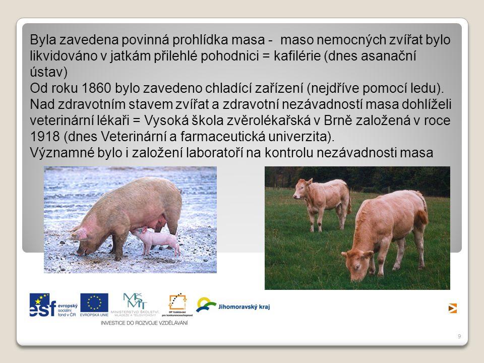 9 Byla zavedena povinná prohlídka masa - maso nemocných zvířat bylo likvidováno v jatkám přilehlé pohodnici = kafilérie (dnes asanační ústav) Od roku 1860 bylo zavedeno chladící zařízení (nejdříve pomocí ledu).