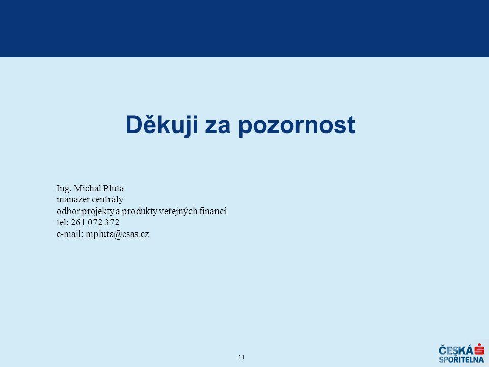 11 Děkuji za pozornost Ing. Michal Pluta manažer centrály odbor projekty a produkty veřejných financí tel: 261 072 372 e-mail: mpluta@csas.cz