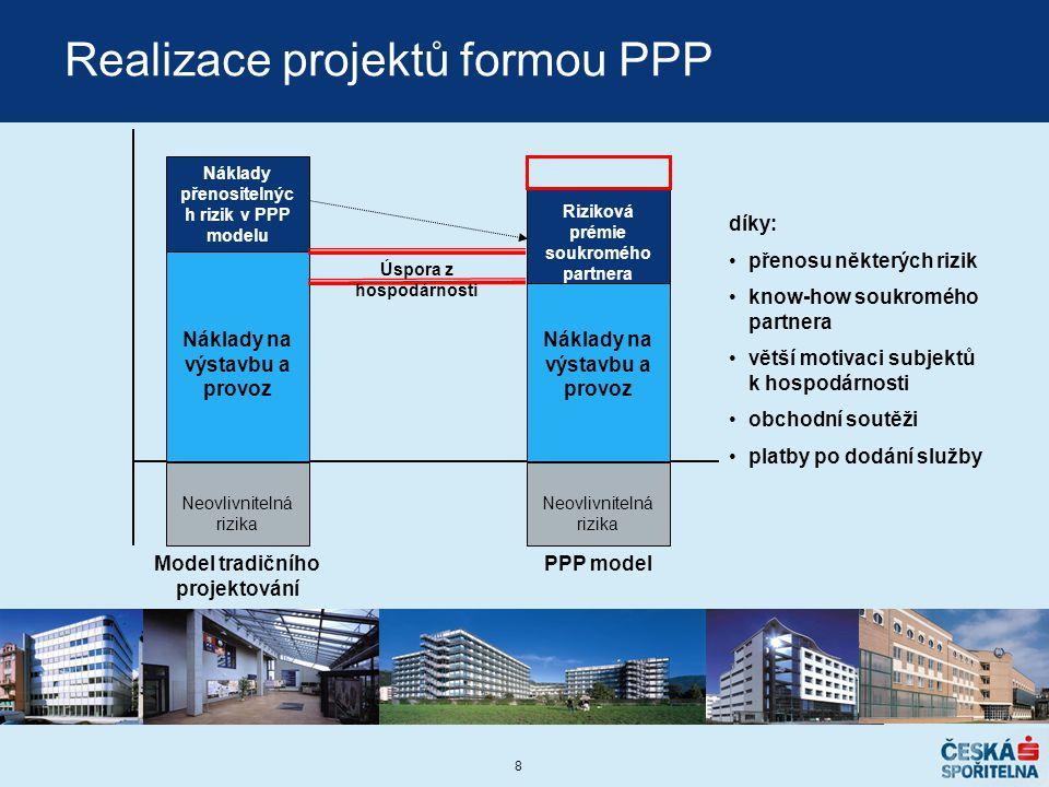 8 Realizace projektů formou PPP Náklady na výstavbu a provoz Náklady přenositelnýc h rizik v PPP modelu Riziková prémie soukromého partnera Úspora z h