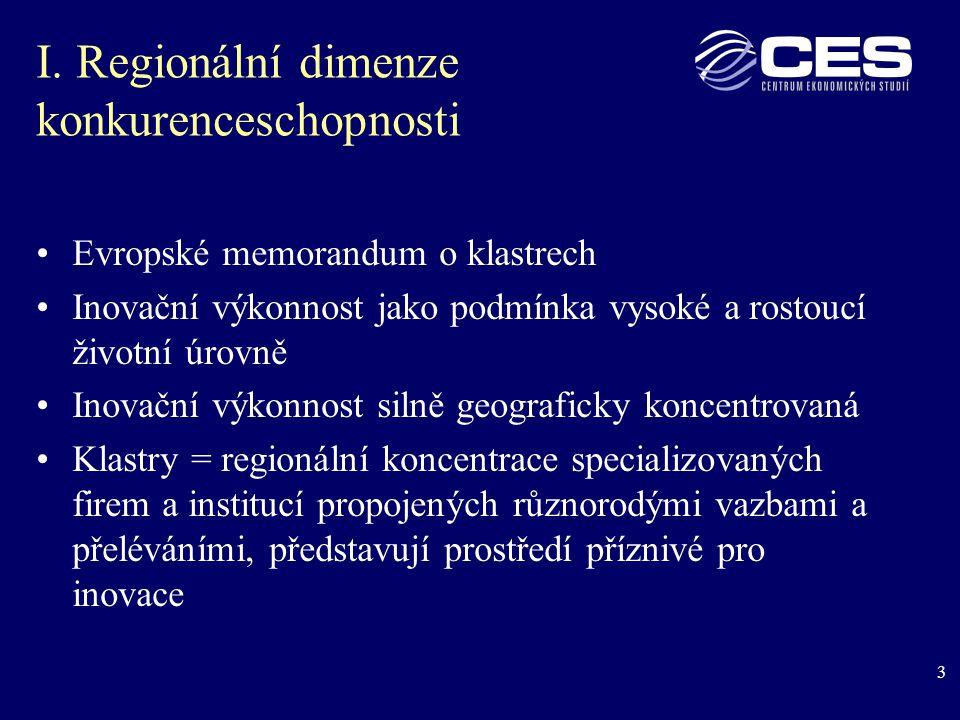3 I. Regionální dimenze konkurenceschopnosti Evropské memorandum o klastrech Inovační výkonnost jako podmínka vysoké a rostoucí životní úrovně Inovačn