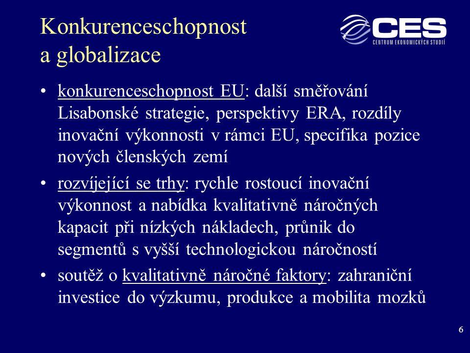 47 REGIONÁLNÍ EXPORTNÍ VÝKONNOST existuje korelace mezi hodnotou přímých zahraničních investic (PZI) a velikostí exportu na jednoho obyvatele výjimkou je Praha, jejíž výsledky jsou zkresleny zachycováním PZI do sídel společností