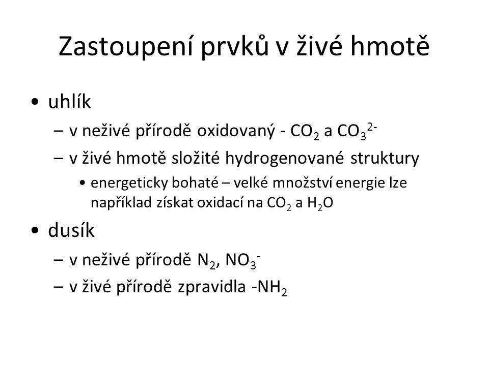 Zastoupení prvků v živé hmotě uhlík –v neživé přírodě oxidovaný - CO 2 a CO 3 2- –v živé hmotě složité hydrogenované struktury energeticky bohaté – ve