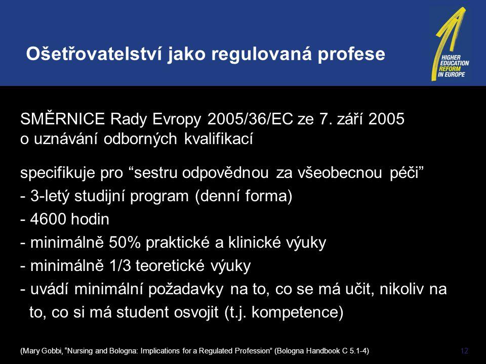 """12 SMĚRNICE Rady Evropy 2005/36/EC ze 7. září 2005 o uznávání odborných kvalifikací specifikuje pro """"sestru odpovědnou za všeobecnou péči"""" - 3-letý st"""