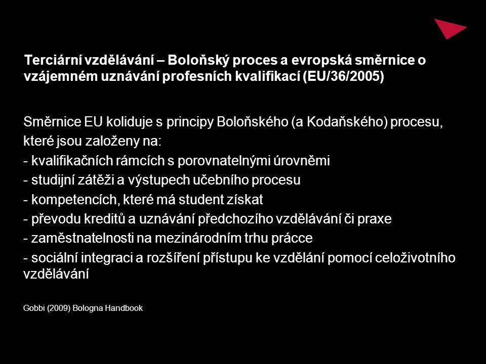 Terciární vzdělávání – Boloňský proces a evropská směrnice o vzájemném uznávání profesních kvalifikací (EU/36/2005) Směrnice EU koliduje s principy Boloňského (a Kodaňského) procesu, které jsou založeny na: - kvalifikačních rámcích s porovnatelnými úrovněmi - studijní zátěži a výstupech učebního procesu - kompetencích, které má student získat - převodu kreditů a uznávání předchozího vzdělávání či praxe - zaměstnatelnosti na mezinárodním trhu prácce - sociální integraci a rozšíření přístupu ke vzdělání pomocí celoživotního vzdělávání Gobbi (2009) Bologna Handbook
