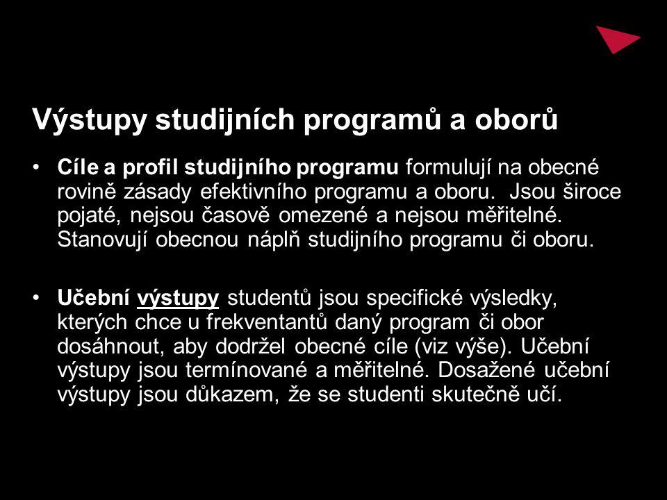 Výstupy studijních programů a oborů Cíle a profil studijního programu formulují na obecné rovině zásady efektivního programu a oboru. Jsou široce poja