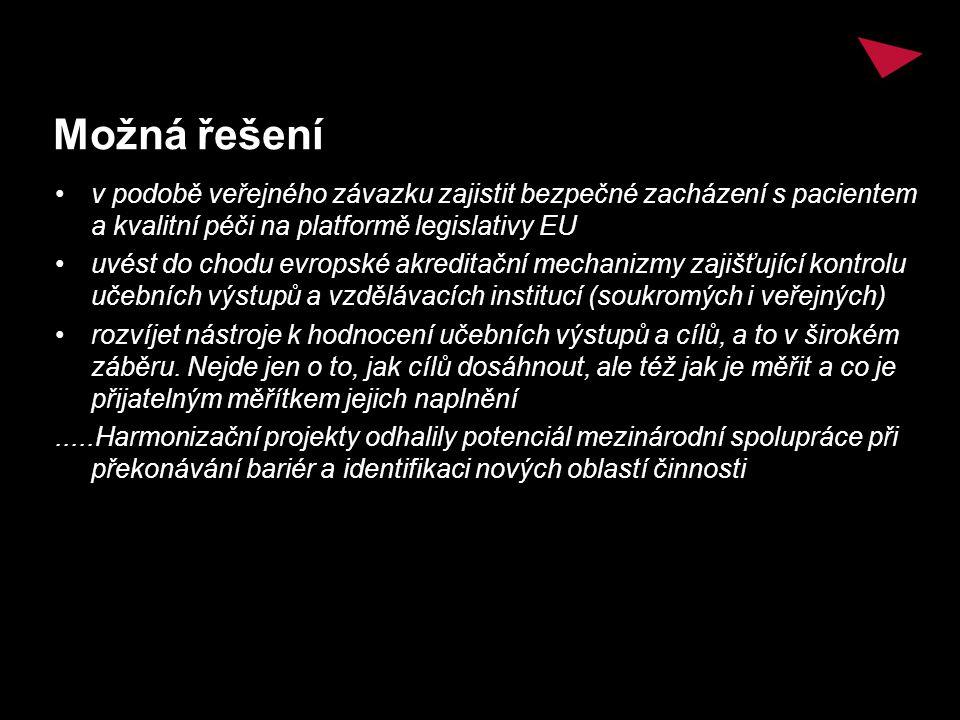 Možná řešení v podobě veřejného závazku zajistit bezpečné zacházení s pacientem a kvalitní péči na platformě legislativy EU uvést do chodu evropské ak