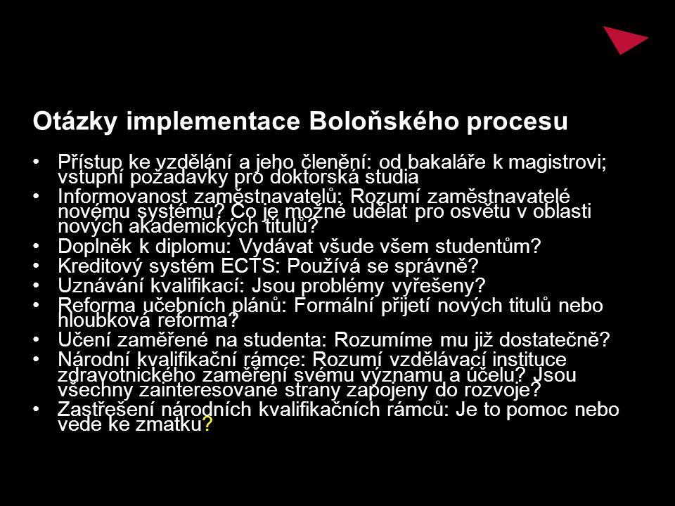 Otázky implementace Boloňského procesu Přístup ke vzdělání a jeho členění: od bakaláře k magistrovi; vstupní požadavky pro doktorská studia Informovanost zaměstnavatelů: Rozumí zaměstnavatelé novému systému.