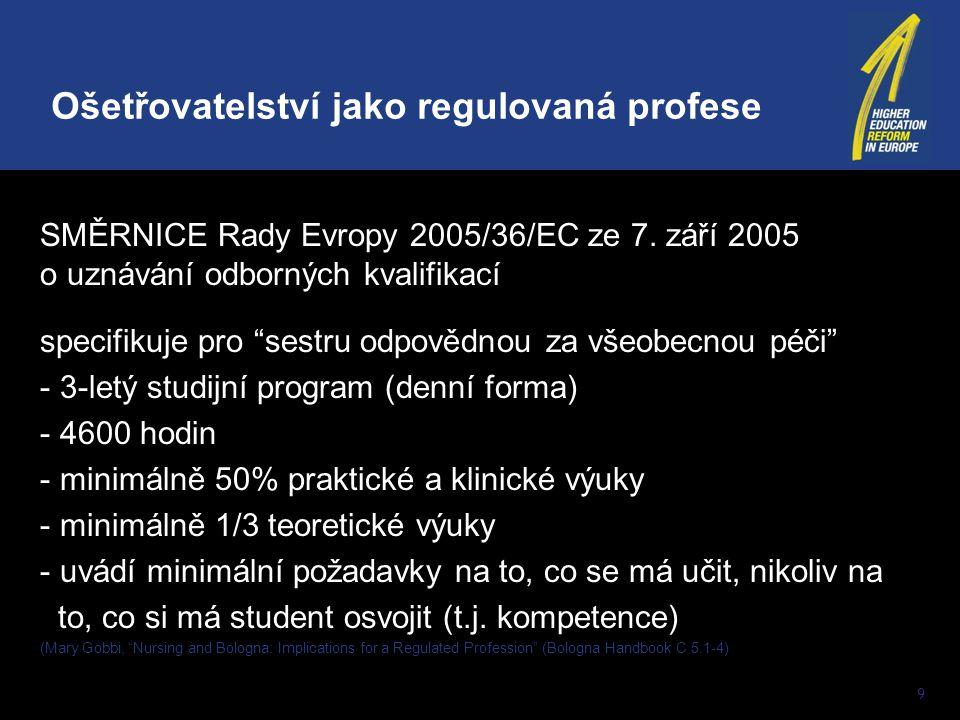 """9 SMĚRNICE Rady Evropy 2005/36/EC ze 7. září 2005 o uznávání odborných kvalifikací specifikuje pro """"sestru odpovědnou za všeobecnou péči"""" - 3-letý stu"""
