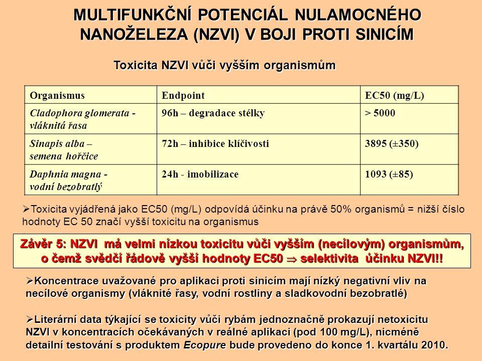 OrganismusEndpointEC50 (mg/L) Cladophora glomerata - vláknitá řasa 96h – degradace stélky> 5000 Sinapis alba – semena hořčice 72h – inhibice klíčivost