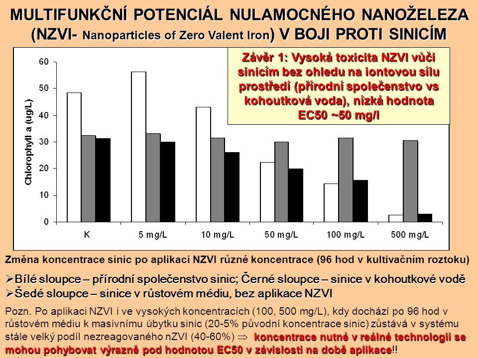 MULTIFUNKČNÍ POTENCIÁL NULAMOCNÉHO NANOŽELEZA (NZVI) V BOJI PROTI SINICÍM Pokles koncentrace fosforu ve vodním sloupci po aplikaci NZVI o koncentraci 75 a 150 mg/L Závěr 2: NZVI výrazně snižuje koncentraci fosforu jakožto klíčové živiny sinic  zásadní preventivní role aplikace NZVI!.