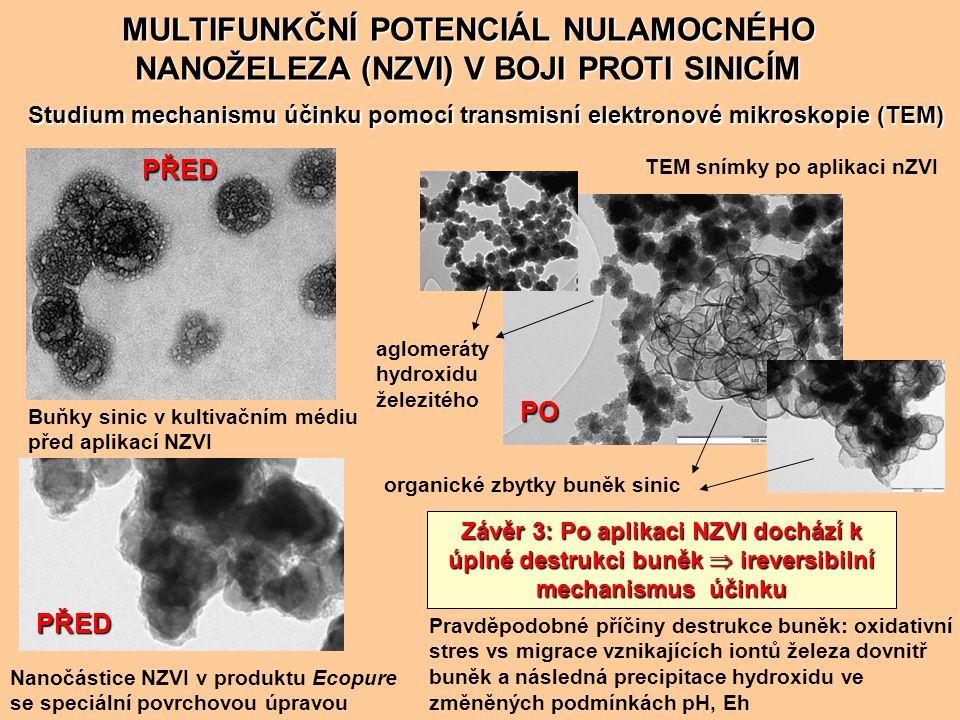 Vliv NZVI na uvolnění microcystinu do vodního prostředí ve srovnání s aplikací herbicidu (Paraquat) MULTIFUNKČNÍ POTENCIÁL NULAMOCNÉHO NANOŽELEZA (NZVI) V BOJI PROTI SINICÍM Závěr 4: Přestože aplikace NZVI vede k destrukci buněk, po aplikaci nedochází k nárůstu microcystinu v systému  uvolněný microcystin je prostřednictvím NZVI odbouráván!!.