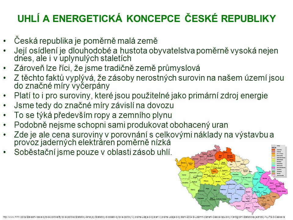 UHLÍ A ENERGETICKÁ KONCEPCE ČESKÉ REPUBLIKY Česká republika je poměrně malá země Její osídlení je dlouhodobé a hustota obyvatelstva poměrně vysoká nej