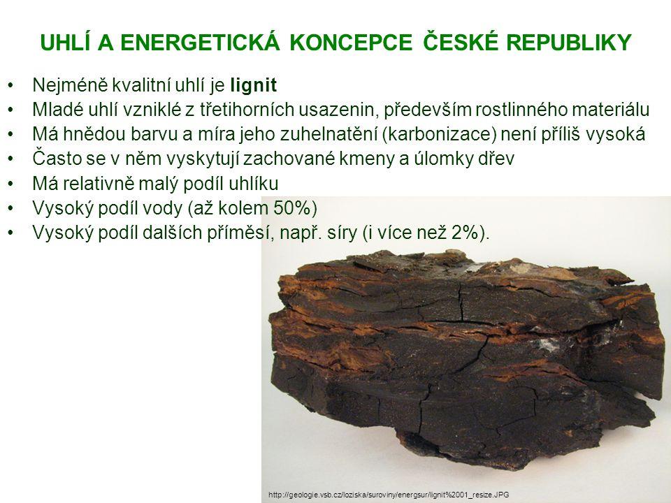 UHLÍ A ENERGETICKÁ KONCEPCE ČESKÉ REPUBLIKY Nejméně kvalitní uhlí je lignit Mladé uhlí vzniklé z třetihorních usazenin, především rostlinného materiálu Má hnědou barvu a míra jeho zuhelnatění (karbonizace) není příliš vysoká Často se v něm vyskytují zachované kmeny a úlomky dřev Má relativně malý podíl uhlíku Vysoký podíl vody (až kolem 50%) Vysoký podíl dalších příměsí, např.