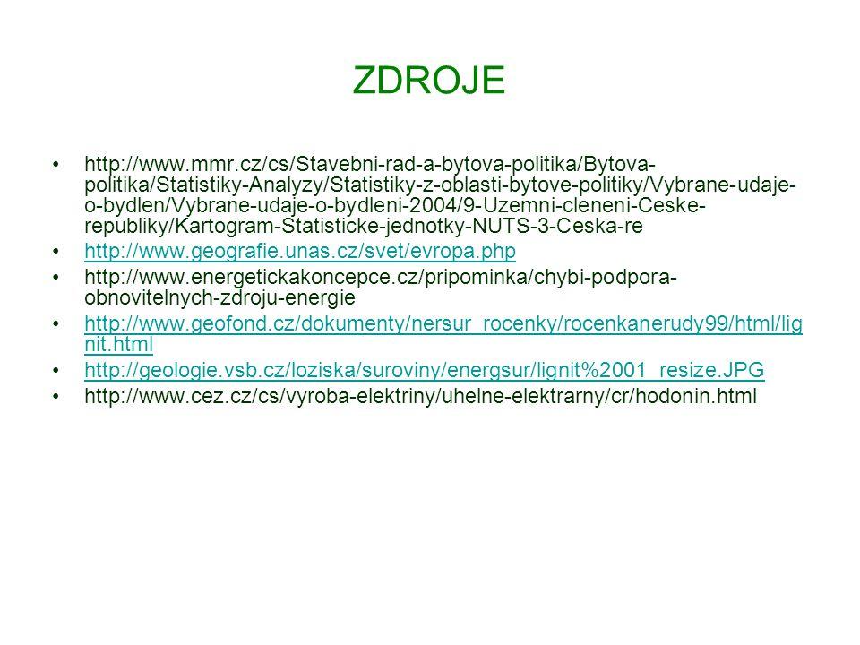 ZDROJE http://www.mmr.cz/cs/Stavebni-rad-a-bytova-politika/Bytova- politika/Statistiky-Analyzy/Statistiky-z-oblasti-bytove-politiky/Vybrane-udaje- o-bydlen/Vybrane-udaje-o-bydleni-2004/9-Uzemni-cleneni-Ceske- republiky/Kartogram-Statisticke-jednotky-NUTS-3-Ceska-re http://www.geografie.unas.cz/svet/evropa.php http://www.energetickakoncepce.cz/pripominka/chybi-podpora- obnovitelnych-zdroju-energie http://www.geofond.cz/dokumenty/nersur_rocenky/rocenkanerudy99/html/lig nit.htmlhttp://www.geofond.cz/dokumenty/nersur_rocenky/rocenkanerudy99/html/lig nit.html http://geologie.vsb.cz/loziska/suroviny/energsur/lignit%2001_resize.JPG http://www.cez.cz/cs/vyroba-elektriny/uhelne-elektrarny/cr/hodonin.html