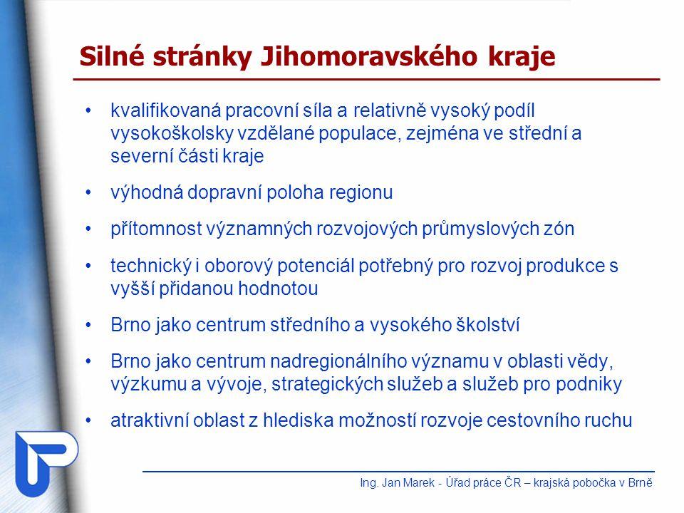 kvalifikovaná pracovní síla a relativně vysoký podíl vysokoškolsky vzdělané populace, zejména ve střední a severní části kraje výhodná dopravní poloha regionu přítomnost významných rozvojových průmyslových zón technický i oborový potenciál potřebný pro rozvoj produkce s vyšší přidanou hodnotou Brno jako centrum středního a vysokého školství Brno jako centrum nadregionálního významu v oblasti vědy, výzkumu a vývoje, strategických služeb a služeb pro podniky atraktivní oblast z hlediska možností rozvoje cestovního ruchu Silné stránky Jihomoravského kraje Ing.