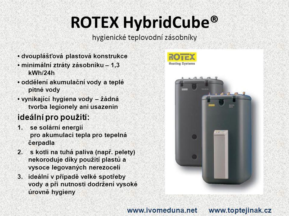 ROTEX HybridCube® hygienické teplovodní zásobníky dvouplášťová plastová konstrukce minimální ztráty zásobníku – 1,3 kWh/24h oddělení akumulační vody a teplé pitné vody vynikající hygiena vody – žádná tvorba legionely ani usazenin ideální pro použití: 1.