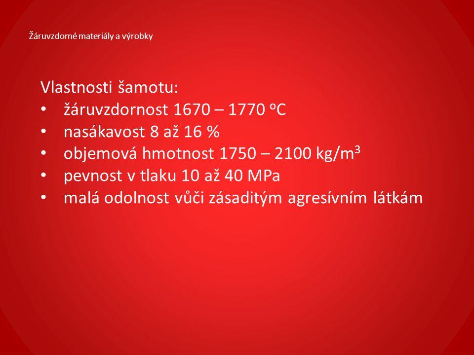 Žáruvzdorné materiály a výrobky Vlastnosti šamotu: žáruvzdornost 1670 – 1770 o C nasákavost 8 až 16 % objemová hmotnost 1750 – 2100 kg/m 3 pevnost v t