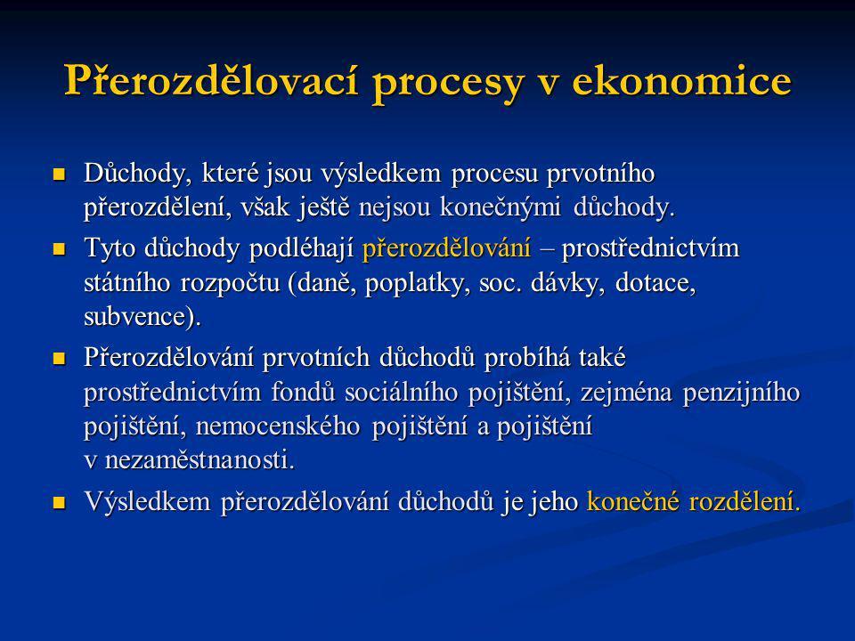 Přerozdělovací procesy v ekonomice Důchody, které jsou výsledkem procesu prvotního přerozdělení, však ještě nejsou konečnými důchody. Důchody, které j